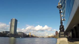 LONDON, UK - FEB 19, 2016: Time-lapse of London river skyline featuring Big Ben and London Eye
