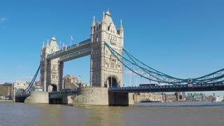 LONDON, UK - MARCH 25, 2016: Time-lapse of Tower Bridge opening to let a tourist paddle steamer through and then closing