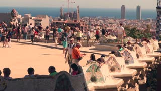 PARK GUEL, BARCELONA, SPAIN - SEPTEMBER 2013: Tourists enjoy the park dedicated to Gaudi