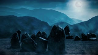 Spooky Stone Circle with animated mist