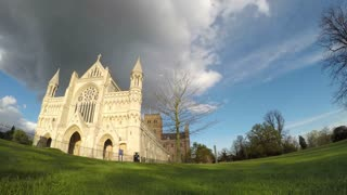 ST ALBANS, UK - APRIL 29, 2016: Panning timelapse from Cathedral to Abbey Gateway