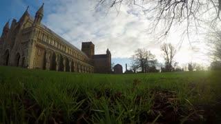 ST ALBANS, UK - DECEMBER 4, 2015: 4K panning time-lapse of St Albans Abbey