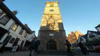 St ALBANS, UK - FEB 2015: Tree shadows move across St Albans clocktower in this time-lapse footage