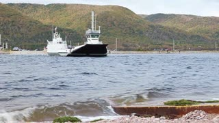 The Englishtown ferry in Cape Breton, Canada transports passengers from the Cabot Trail