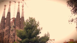 The Sagrada Família church in Barcelona, with cranes working on its restoration