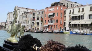 VENICE, ITALY - AUGUST 2012:  View from a gondola sailing on the Grand canal