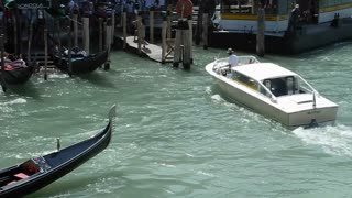 VENICE, ITALY - AUGUST 2012: View of sailing gondolas on the Grand canal, filmed from the Rialto bridge