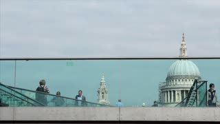 Glass Bridge And Tourists By St Pauls