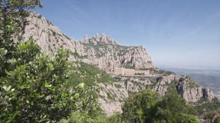 The Spanish monastery  of Montserrat with mountain in background.