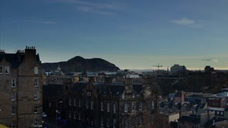 View of Edinburgh skyline and Arthur's Seat mountain from the Castle