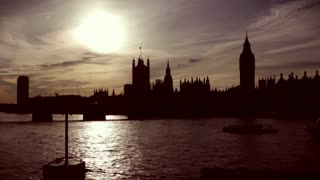 Westminster and Big Ben in silhouette