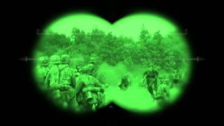 World War 2 battlefield action viewed through night vision binoculars