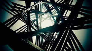 3D render, flying in a industrial tunnel abstract tunnel of metal structure 4K