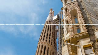 Barcelona, Spain - May 1, 2015: Parallax with transition slideshow, my photo of Barcelona Attractions, Plaza de Espana, National Museum, La Sagrada Familia, Park Guell, Castell dels Tres Dragons.