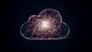 cloud computing symbol from the chaotically slow moving connected points, cloud technology, cloud storage, internet of things