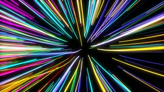 fast motion glowing lights lines