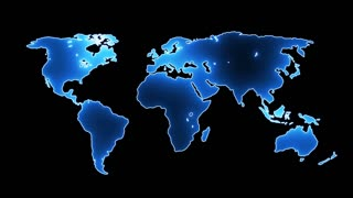 flickering neon map of the earth animation 4K