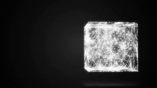 geometric composition from dots and lines in the cube casts a shadow 3D 4K