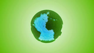 green grass earth with water - global warming