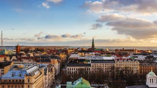 Helsinki, Finland - December 25, 2015: Parallax with transition slideshow, my photo and timelapse video of Helsinki Attractions, Aerial view of Helsinki, capital of Finland