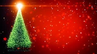 Merry Christmas card: Christmas tree with light snowflakes