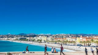 Nice, France - March 1, 2016: Parallax with transition slideshow, my photo and timelapse video of attractions of Nice and province Cote d'Azur region and countryside, coastline with yachts, promenade.