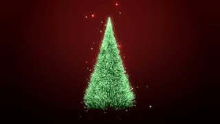 rotating a green christmas tree with sparkles  loop 4K