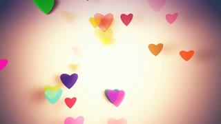 Slow motion the hearts with depth of field, Valentines Day background. 4K