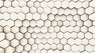 3d wavy hexagons pipes, slow motion abstract background