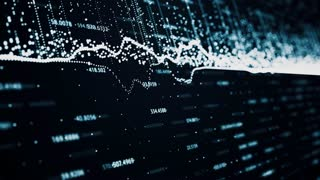 Abstract background with animation of growing charts and flowing counters of numbers with symbols of percent. Financial figures and diagrams showing increasing profits
