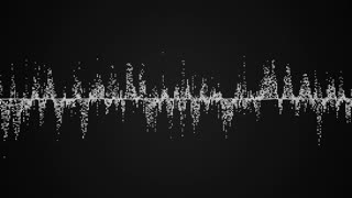 Abstract white audio wave on black background, seamless loop abstract animation