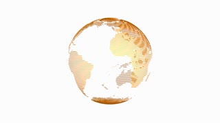 Animation of spinning globe of the Earth planet on white background. 4K seamless loop earth animation