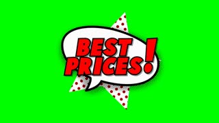 Best prices text in speech balloon in comic style animation, 4K retro cartoon comics animation on green screen, special offer, sale, discount and percentages