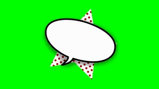blank speech balloon in comic style animation, 4K retro cartoon comics animation on green screen