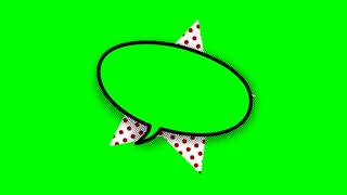 blank speech balloon in comic style animation, 4K retro cartoon comics animation on green screen