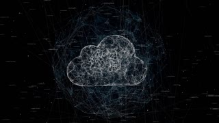 cloud computing, tech animation of cloud symbol from the chaotically slow moving connected points rotates in sphere from connected line, cloud technology, cloud storage, seamless loop animation