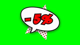 five percent discount text in speech balloon in comic style animation, 4K retro cartoon comics animation on green screen, special offer, sale, discount and percentages