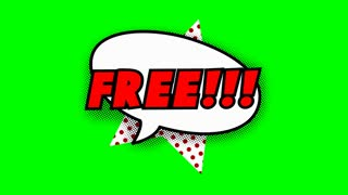 Free text in speech balloon in comic style animation, 4K retro cartoon comics animation on green screen, special offer, sale, discount and percentages