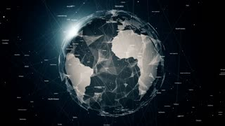 Global network connections. Connecting countries around the world, communication in social media, 4K seamless loop animation.