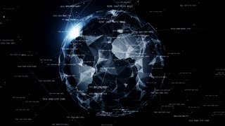 Global network connections. Connecting hashes around the world, communication in social media, 4K seamless loop animation.