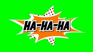 ha-ha-ha - word in speech balloon in comic style animation, 4K retro cartoon comics animation on green screen