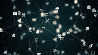 internet of things, animation from the slow moving connected things, 4K tech background