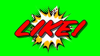 LIKE - word speech balloons comic style animation, 4K retro cartoon comics animation on green screen