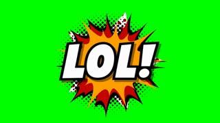 Lol - word in speech balloon in comic style animation, 4K retro cartoon comics animation on green screen