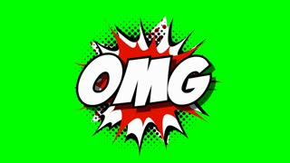 OMG - word speech balloons comic style animation, 4K retro cartoon comics animation on green screen