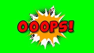 Oops - word in speech balloon in comic style animation, 4K retro cartoon comics animation on green screen