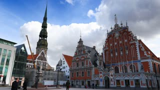 Riga, Latvia - February 10: Timelapse view of the riga Old town area in cloudy day , Riga is the capital and largest city in Latvia. 4K video.