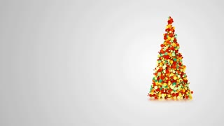 Simple video greeting card with merry christmas and new year holidays, rotating particles in the shape of an elegant Christmas tree, 4k holiday animation