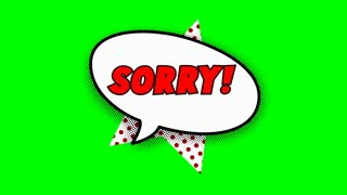 Sorry text in speech balloon in comic style animation, 4K retro cartoon comics animation on green screen, special offer, sale, discount and percentages