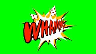word in comic style, cartoon animation, 4K retro animation on green screen
